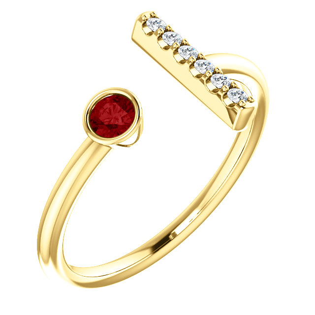 14K Yellow Chatham® Created Ruby & .05 CTW Diamond Bar Ring