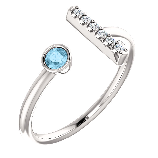14K White Aquamarine & .06 CTW Diamond Bar Ring