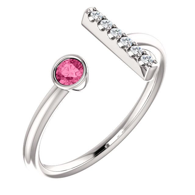 14K White Pink Tourmaline & .05 CTW Diamond Bar Ring
