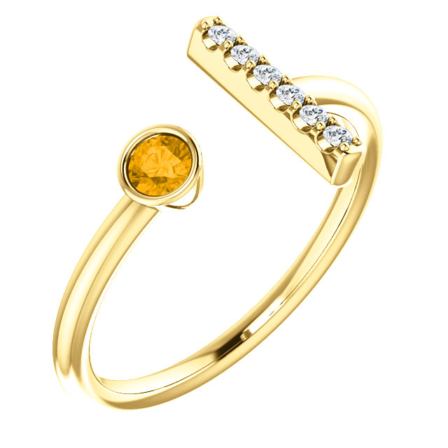 14K Yellow Citrine & .05 CTW Diamond Bar Ring