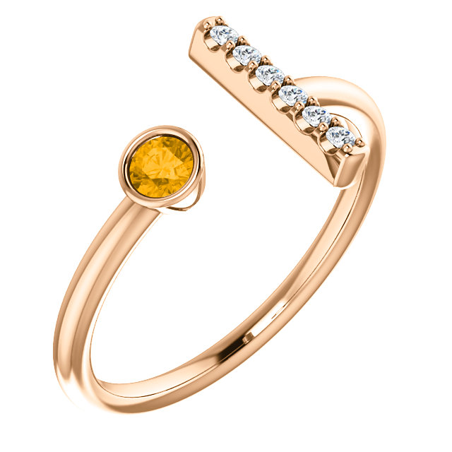 14K Rose Citrine & .05 CTW Diamond Bar Ring
