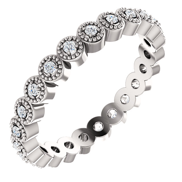 14K White 1/5 CTW Diamond Eternity Band Size 6