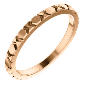 14K Rose Geometric-Inspired Wedding Band Size 7