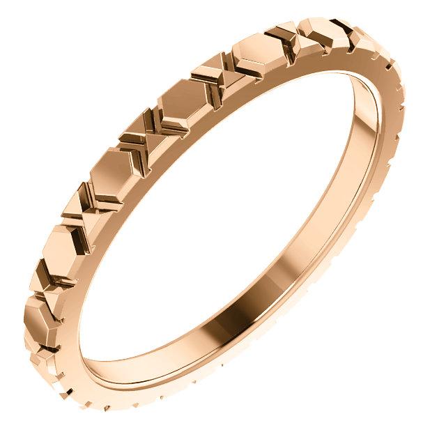 14K Rose Geometric-Inspired Wedding Band Size 7