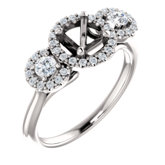 Three-Stone Halo-Style Engagement Ring or Band