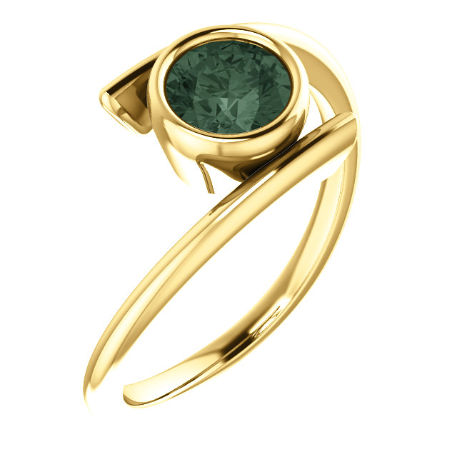14K Yellow Chatham® Created Alexandrite Ring