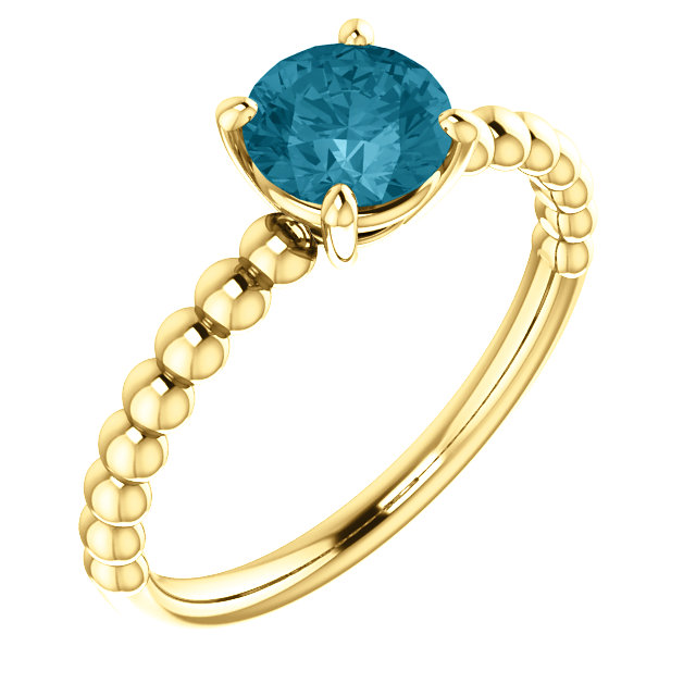 14K Yellow London Blue Topaz Beaded Ring