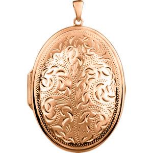 14K Rose Gold-Plated Sterling Silver Oval Locket