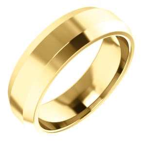 10K Yellow 6 mm Beveled-Edge Comfort-Fit Band Size 10