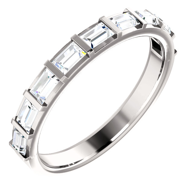14K White 5/8 CTW Diamond Straight Baguette Anniversary Band