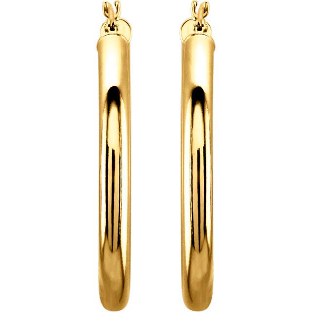 14K Yellow 30 mm Tube Hoop Earrings