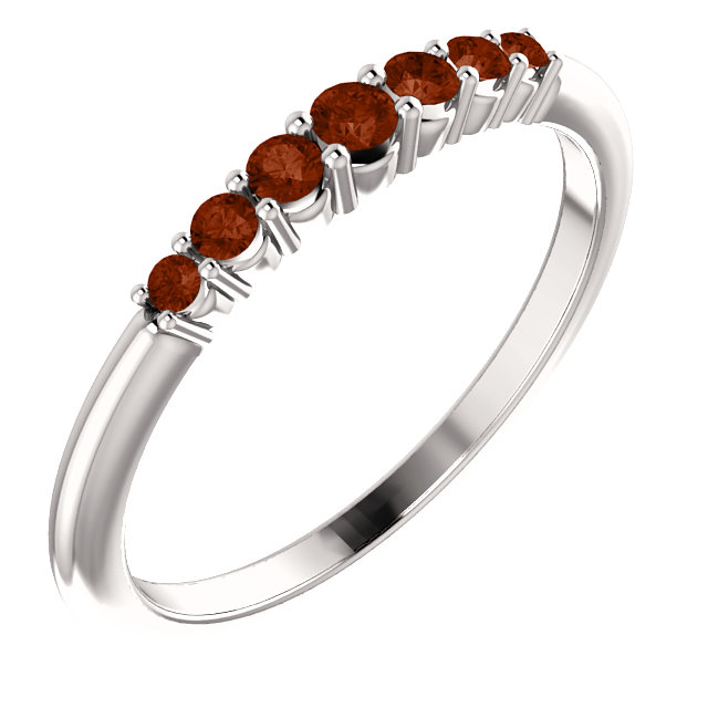 14K White Mozambique Garnet Stackable Ring