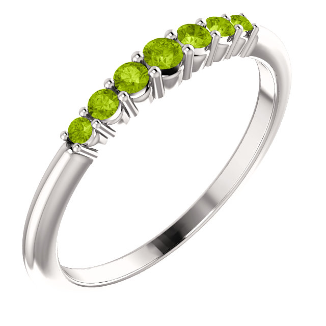 14K White Peridot Stackable Ring