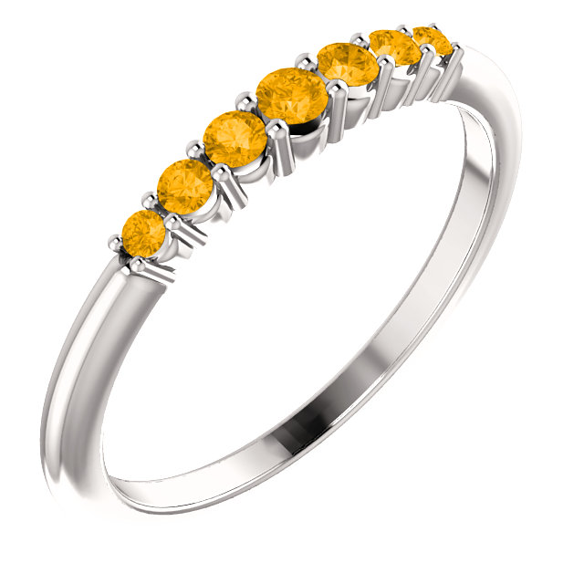 14K White Citrine Stackable Ring